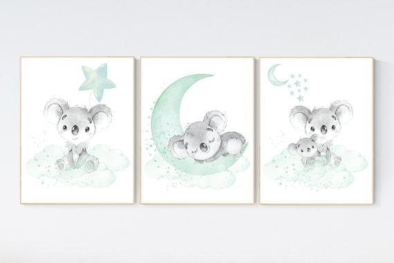 Koala nursery, mint nursery, moon and stars, mint green nursery art, nursery prints animals, gender neutral nursery, koala mother and baby
