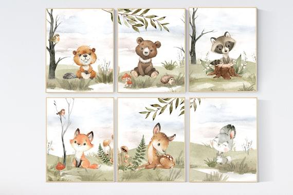 Woodland nursery decor, animals prints, woodland themed nursery, nursery art woodland, nursery prints gender neutral, woodland nursery ideas