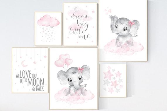 Nursery wall art girl elephant, pink grey, nursery decor girl pink, we love you to the moon and back, moon and stars, baby room decor girl