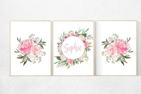 Nursery decor girl pink roses, nursery decor letters, nursery decor flower, nursery decor girl floral, flower nursery name nursery wall girl