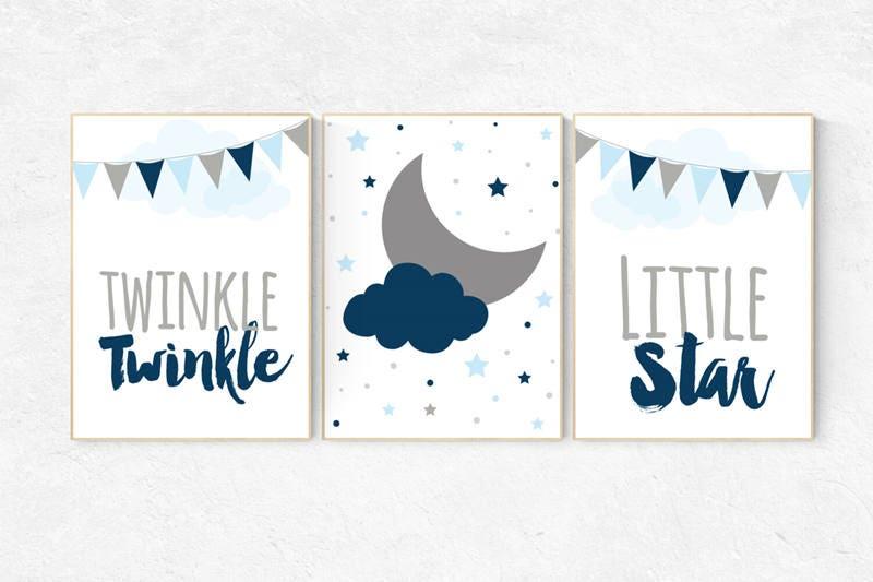 Twinkle Twinkle Little Star, cloud nursery art, Baby boy nursery ...