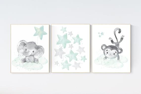 Canvas Listing: Mint and gray nursery wall art, mint green nursery decor, moon and stars nursery, gender neutral
