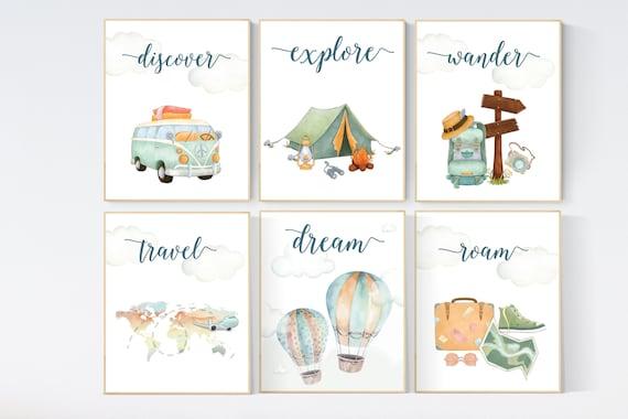 Travel nursery print, Explore nursery wall art, Baby boy nursery, Adventure Set of 6 prints, Camping Prints, Adventure Nursery Decor