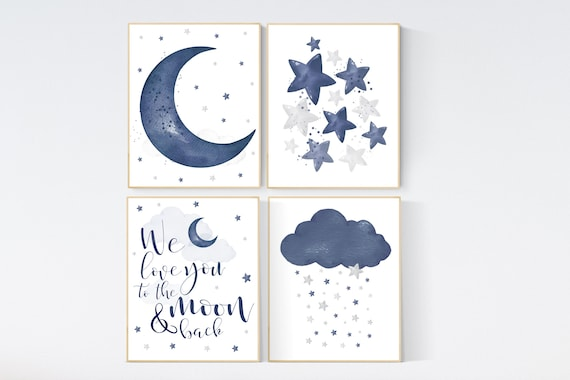 Nursery decor boy navy, nursery wall art boy, moon and stars, navy blue, navy nursery, we love you to the moon and back, boy nursery