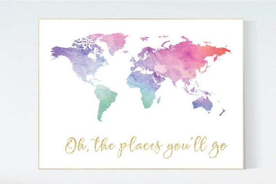Canvas Listing: Watercolor world Map poster, world map wall art, nursery wall art, oh the places you'll go, pink purple