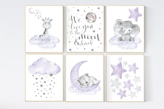 Nursery decor girl purple, girl nursery wall art, elephant, giraffe, bear, nursery prints animals, baby room decor, lavender, lilac