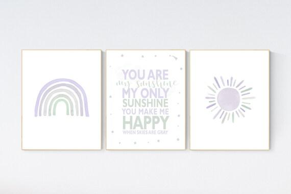 Nursery prints rainbow, Nursery decor girl, nursery wall art, purple and mint, lavender, moon, star, cloud, nursery wall art, lilac mint