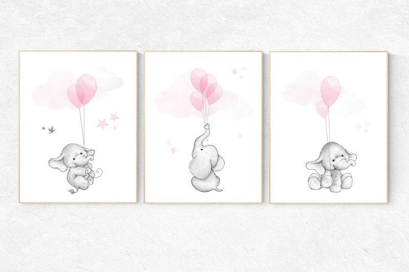 Nursery decor girl, elephant balloon print, elephant artwork ...