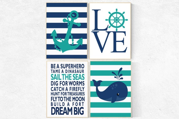 Boy Rules Print, Nautical Nursery Wall Art, Navy Nursery Decor, Teal Nursery decor, whale nursery decor, baby boy nursery, nursery prints