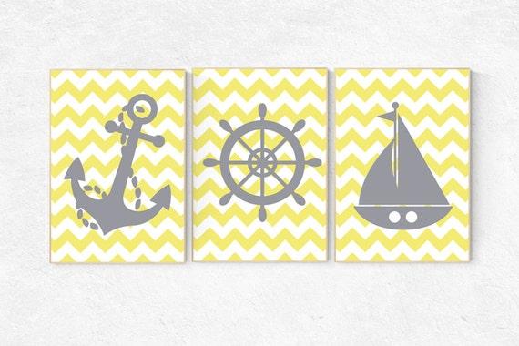 Yellow gray nursery, Nautical Nursery Art Print Set, Nautical Nursery Art, nautical kid art, playroom decor yellow gray baby boy nursery