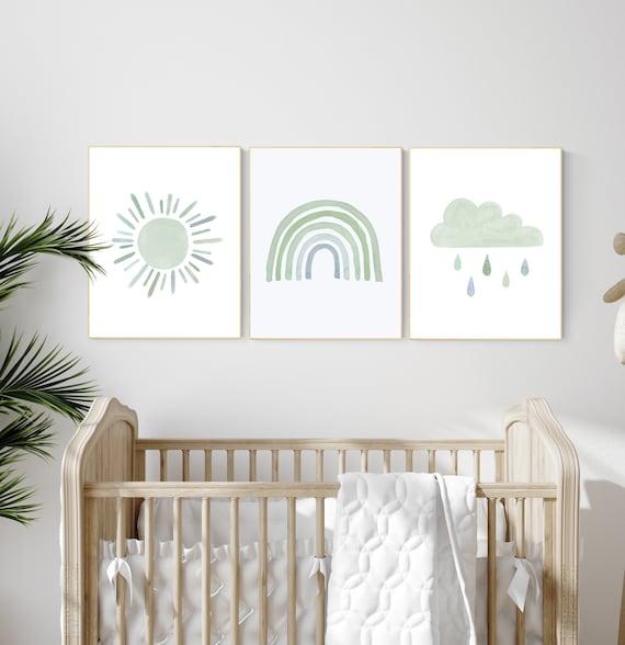 Nursery prints rainbow, gender neutral, sage green nursery wall decor, rainbow, moon, cloud, nursery wall art, nursery decor neutral, green