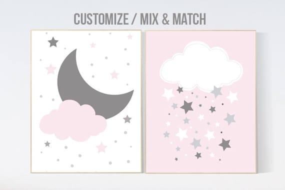 Nursery decor girl, girl nursery, Pink nursery decor, nursery wall art, cloud nursery decor, baby girl nursery decor wall art, elephant
