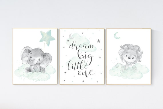 Nursery decor elephant, lion nursery, animal nursery prints, mint nursery, baby room wall decor, woodland animal prints, mint green