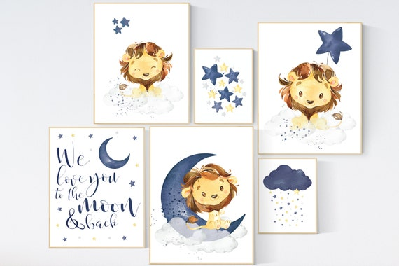 Nursery decor boy lion, boy nursery decor, moon and stars, navy nursery, boy nursery, we love you to the moon and back