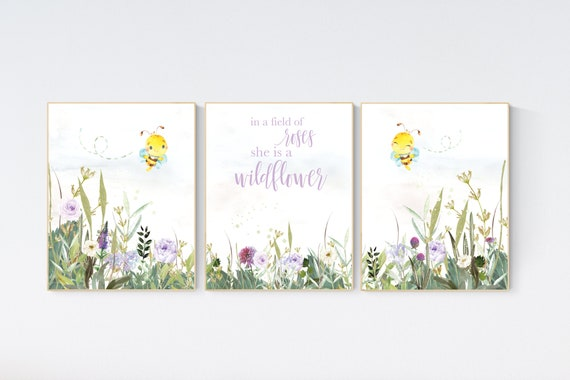 Nursery decor girl floral, bee nursery, purple nursery, flower Nursery Art, Girl Nursery Art, lilac nursery, lavender