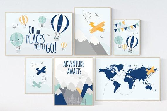 Canvas Listing: Adventure nursery decor, Nursery decor boy mountains adventure, nursery decor boy airplane, world map nursery