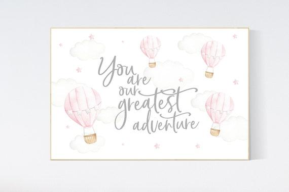Hot air balloon nursery, Nursery decor girl, pink nursery, you are our greatest adventure, nursery decor girl, girl nursery wall decor
