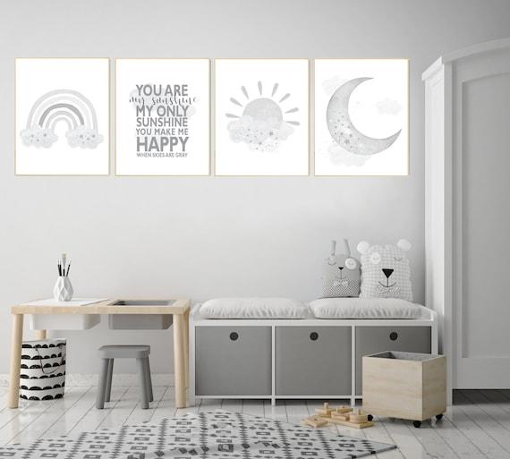 Nursery decor rainbow, gray nursery, Rainbow Wall Art, rainbow Print Set, Rainbow art, gender neutral, Kids Room Decor, You Are My Sunshine