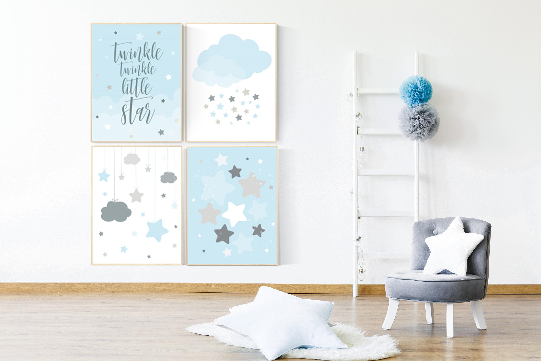 Twinkle Twinkle Little Star Baby Boy Nursery Decor Blue Gray Nursery Boys Room Wall Art Baby Room Prints Moon And Star Nursery Cloud