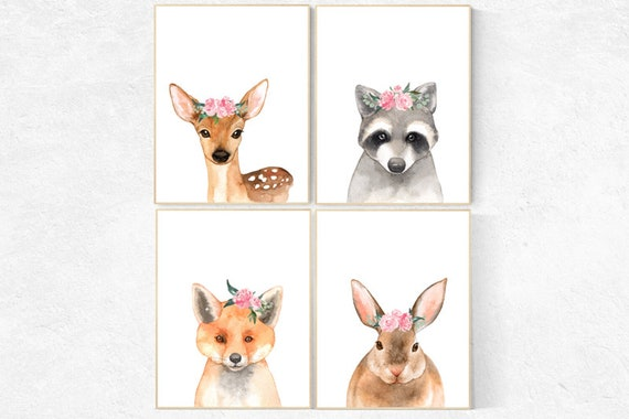 Nursery decor girl woodland, Nursery prints woodland, nursery wall art girl woodland, nursery prints woodland animals, baby room woodland