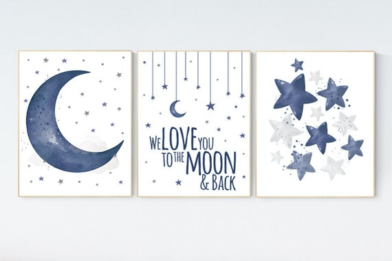 Nursery decor boy navy blue, Nursery wall art boy, navy nursery decor, moon and stars, we love you to the moon and back, nursery prints boy
