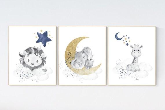 Lion, elephant and giraffe, Navy gold nursery decor, moon and stars, navy gold nursery art. baby room wall art, boy nursery decor, set of 3