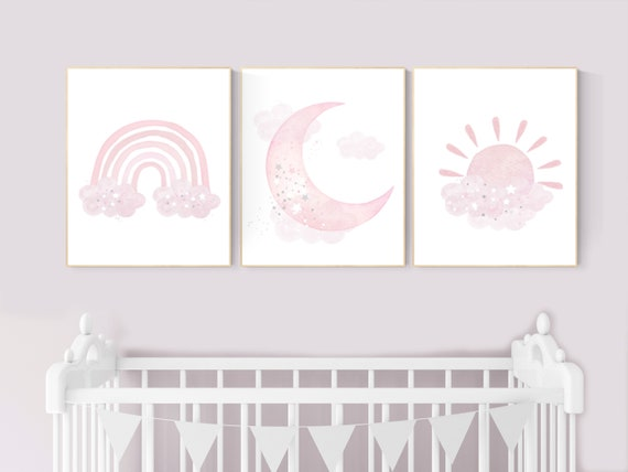 Nursery prints rainbow, Nursery decor girl, nursery wall art, pink nursery, moon, cloud, sun, nursery wall art, pink, nursery wall decor