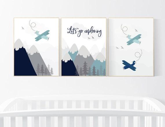 Adventure nursery decor, nursery decor boy adventure, nursery decor boy airplane, let's go exploring, mountain nursery, navy teal