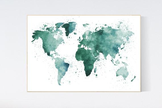 World map nursery, green world map, world map wall art nursery, nursery wall art world map, emerald green, green nursery, wall decor, map