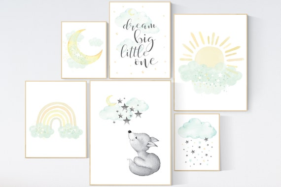 Mint and yellow nursery, moon and stars nursery, gender neutral nursery, dream big little one, rainbow, sun, fox nursery art, mint yellow