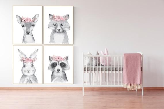 Nursery decor girl woodland animals, nursery decor girl boho, nursery decor girl flower, floral, animal prints for girls, bunny flower, boho