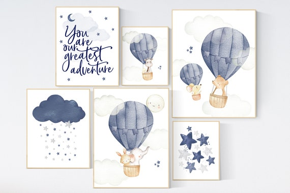Nursery decor boy neutral, nursery decor boy travel, you are our greatest adventure hot air balloon, nursery wall art animals, moon and star
