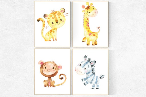 Safari animals nursery, nursery decor animals, nursery wall art safari animals, animal nursery prints, giraffe, lion, monkey, zebra woodland