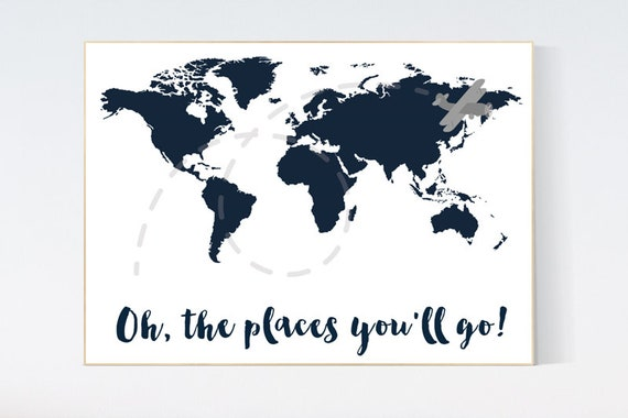 Oh the places you'll go, navy blue wall art, navy nursery, travel nursery, nursery decor boys, world map nursery, navy nursery, navy gray