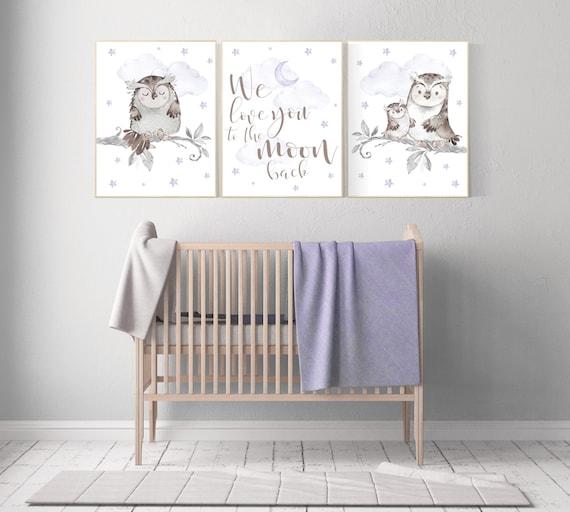 Lilac nursery, nursery wall art, owl nursery, lavender, we love you to the moon and back, Nursery decor girl purple, Nursery decor owl
