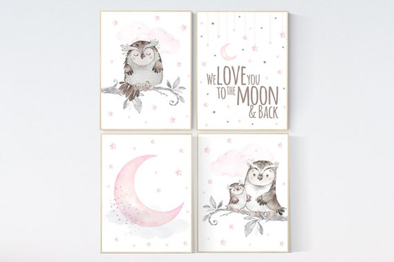 Nursery decor girl owl, we love you to the moon and back, owl nursery decor, girl nursery wall art, nursery ideas, pink nursery print