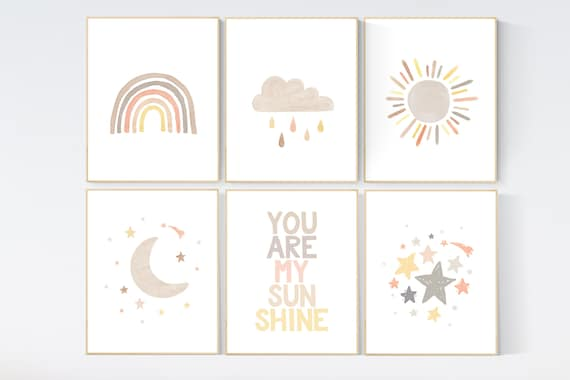Gender neutral, nursery decor rainbow, gender neutral, you are my sunshine, stars, rainbow, cloud, nursery wall art neutral, nursery prints