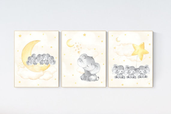 Yellow gray nursery Nursery decor yellow, gender neutral nursery decor, baby room decor, Nursery decor neutral, Triplet nursery,