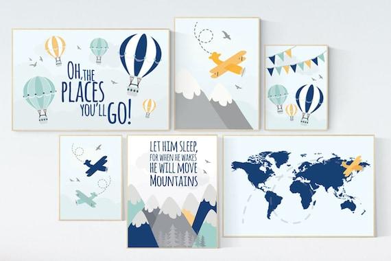 Adventure nursery, Nursery decor mountains, nursery decor boy airplane, world map, let him sleep for when he wakes he will move mountains