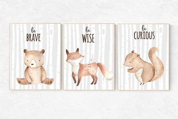 Woodland Nursery Wall Art, Woodland nursery art, nursery decor neutral, gender neutral, Woodland Print Set, Woodland Animal Prints