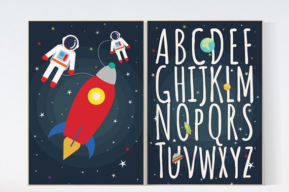 Space nursery decor, alphabet letters, alphabet nursery Art, Outer Space Room Art, set of 2 prints, Boy Nursery Space Decor, ABC nursery