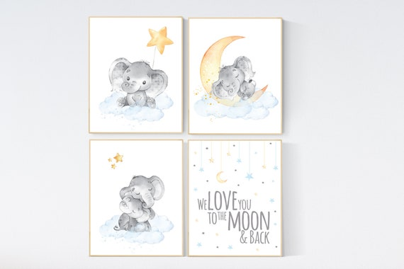 Nursery decor gender neutral, elephant prints, nursery wall art, gender neutral, blue yellow, we love you to the moon and back, wall decor