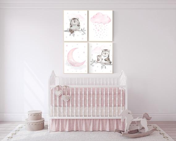 Nursery decor girl owl, Owl print for nursery, moon and star nursery, owl nursery decor, pink and gray, nursery ideas, pink nursery decor