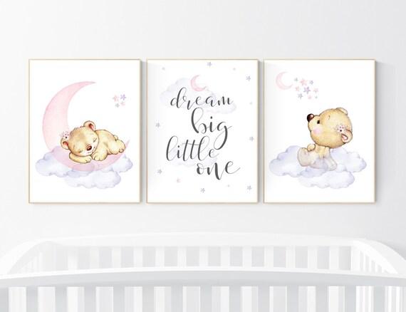 Purple and pink, Nursery decor girl bear, lavender, nursery decor girl pink and purple, animal nursery, teddy bear, nursery wall decor
