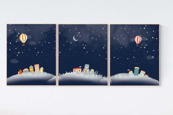 Gender neutral nursery, Nursery decor neutral, moon and stars, nursery decor sets, nursery decor boy stars, sky, set of 3