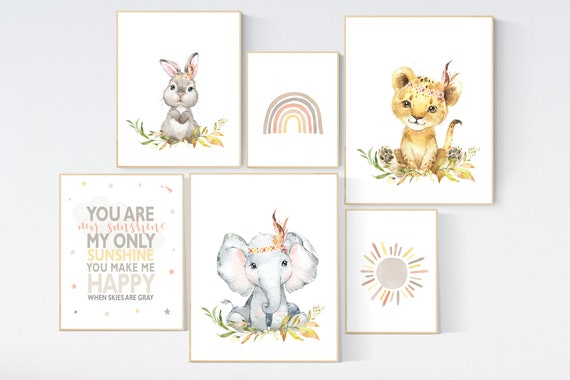 Nursery decor boho, nursery decor animals, gender neutral, you are my sunshine, animal prints, rainbow nursery, nursery wall art neutral