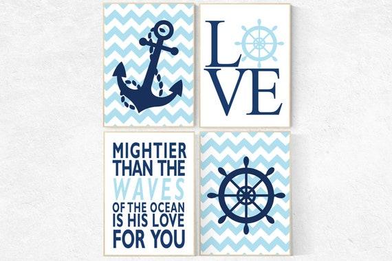 Nursery decor nautical, nursery prints boy, nursery decor boy nautical, navy blue nursery decor, mightier than the waves of the sea, navy