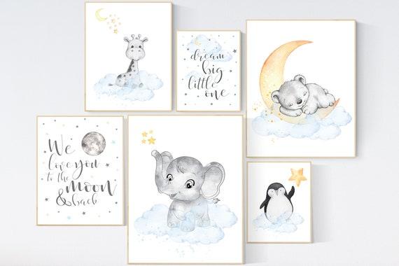 Nursery decor gender neutral, Animal prints, Nursery wall art elephant, bear, giraffe, penguin, blue yellow, nursery wall decor, animals