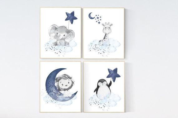 Nursery decor animals, giraffe, elephant, lion, penguin animal nursery prints, navy blue nursery, baby room wall decor, animal prints