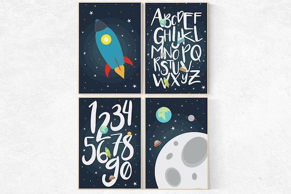 Space nursery decor, Outer Space Room Art, alphabet letters, alphabet nursery Art, Boy Nursery, toddler room, kids room decor playroom decor